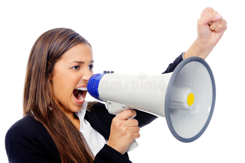 Megaphone woman. Business woman with megaphone yelling and screaming isolated on white background with suit and high heels royalty free stock photos