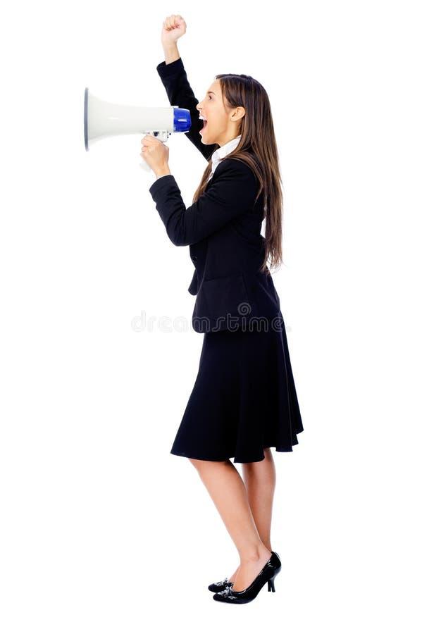 Megaphone woman stock images