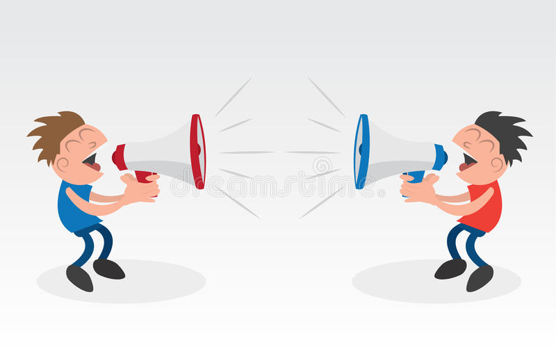 Megaphone Yelling Competing. Two people yelling into megaphones royalty free illustration
