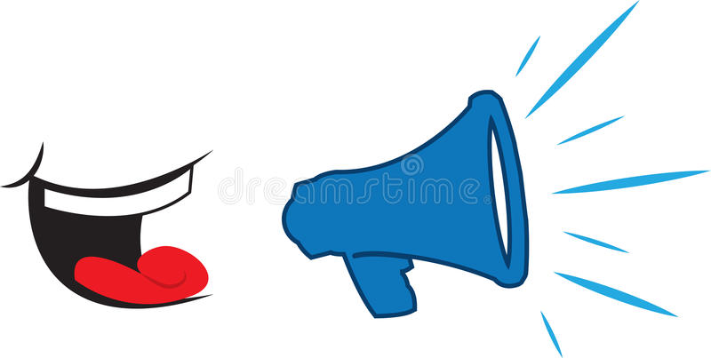 Megaphone Yelling Mouth. Mouth yelling into blue megaphone stock illustration