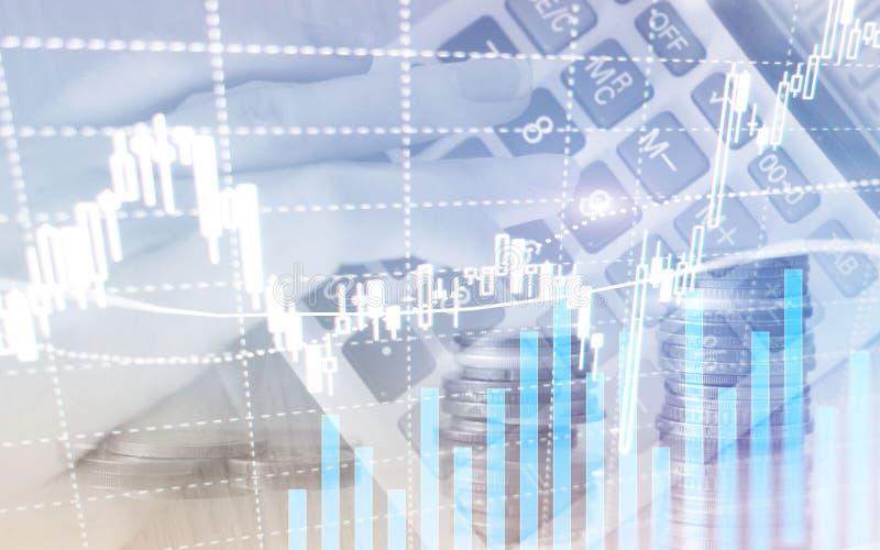 数字股票市场 财政企业股票市场图表图蜡烛棍子 外汇贸易 硬币和megapolis背景 向量例证