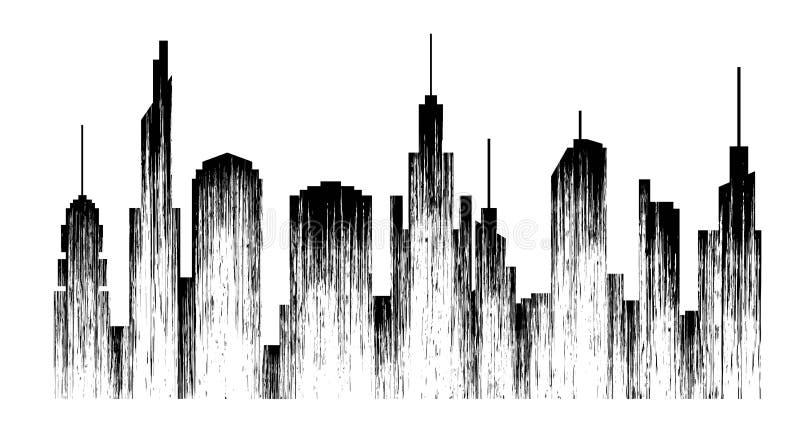 Megapolis Abstract stads zwart silhouet met textuur stock illustratie