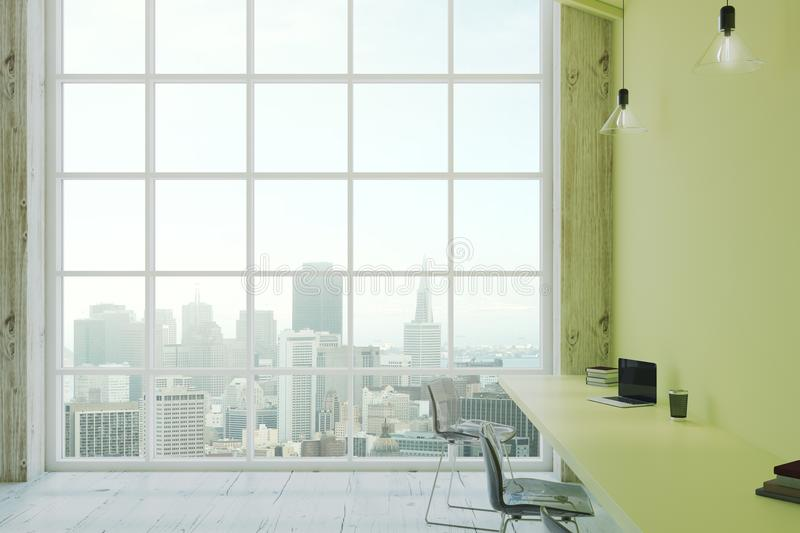 Megapolis city view from eco office. Megapolis city view from floor-to-ceiling window in modern eco office with green walls. 3D render vector illustration