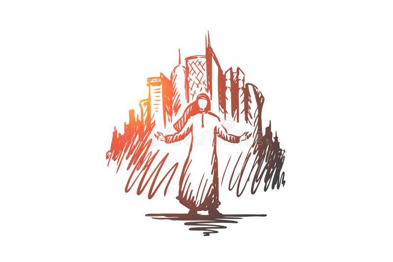 Megapolis, ciudad grande, hombre de negocios, Islam, concepto musulmán Vector aislado dibujado mano ilustración del vector