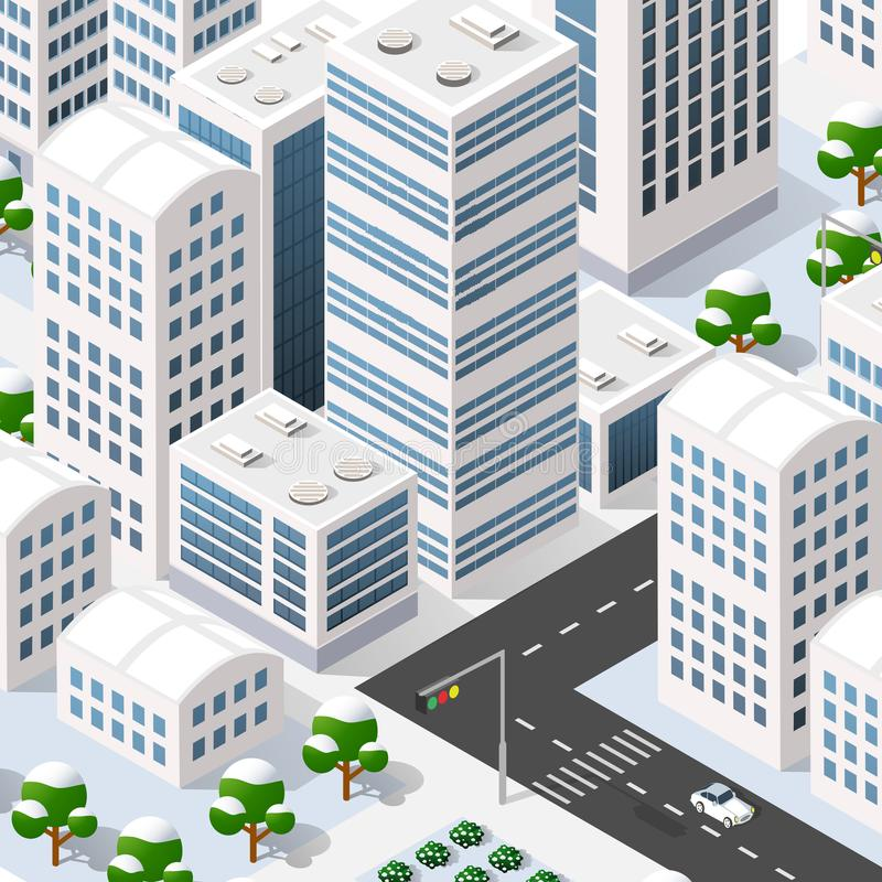 Megapolis 3d isometric. Three-dimensional view of the city. Collection of houses, skyscrapers, buildings, built and supermarkets with streets and traffic. The royalty free illustration