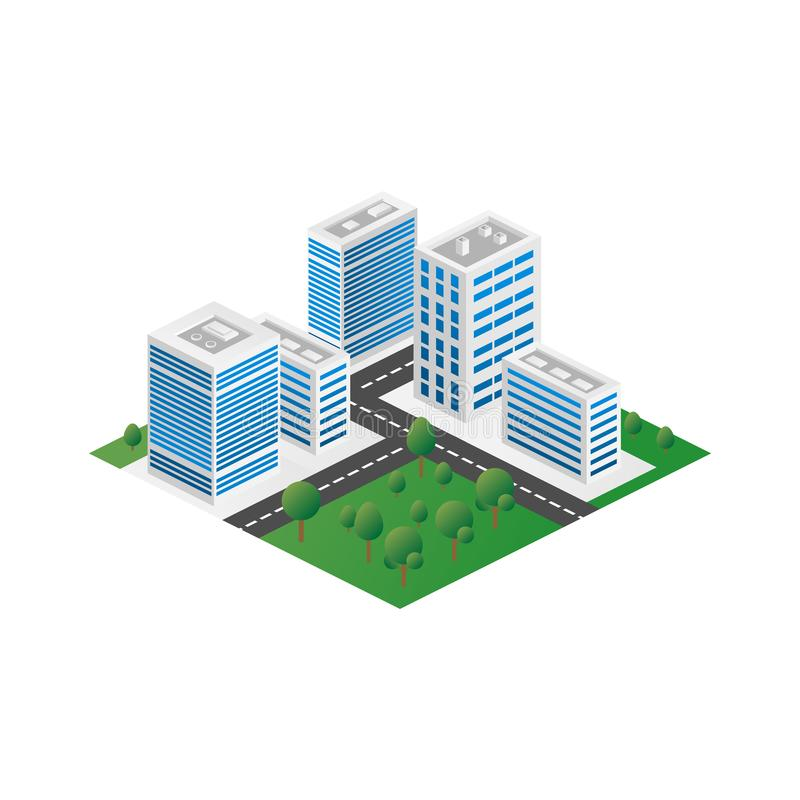 Megapolis 3d isometric three-dimensional view of the city. Collection of houses, skyscrapers, buildings, built and supermarkets vector illustration