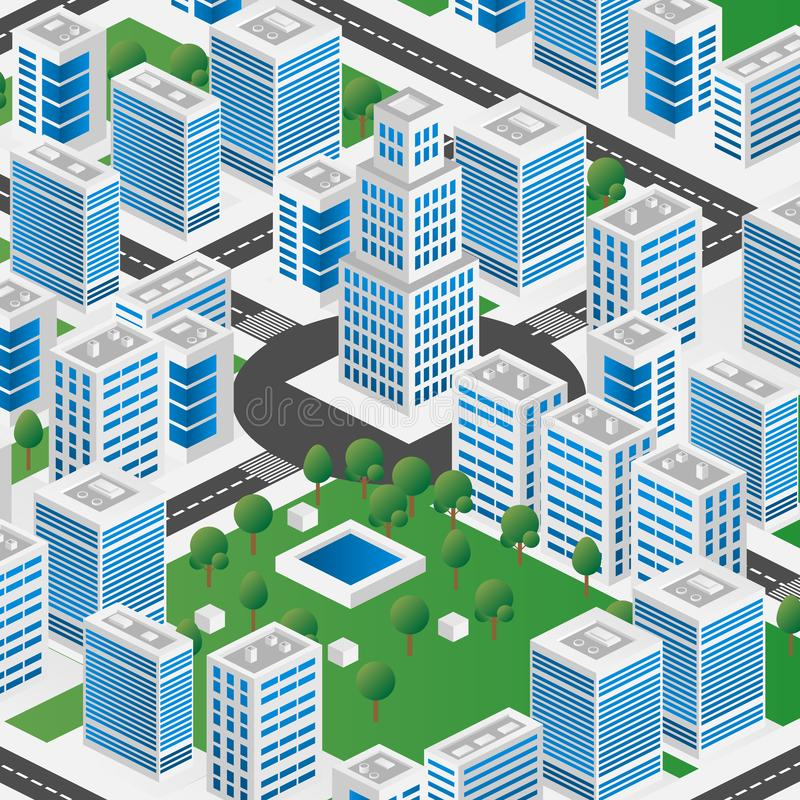 Megapolis 3d isometric three-dimensional view of the city. Collection of houses, skyscrapers, buildings, built and supermarkets. With streets and traffic. The royalty free stock images