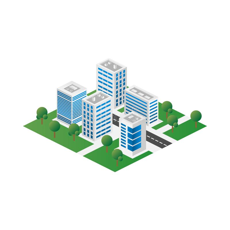 Megapolis 3d isometric three-dimensional view of the city. Collection of houses, skyscrapers, buildings, built and supermarkets royalty free illustration