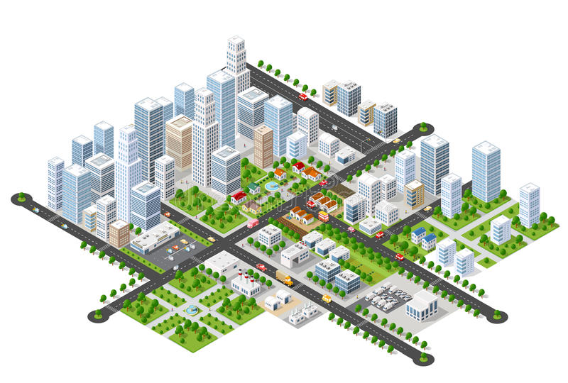 Megapolis 3d isometric. Three-dimensional view of the city. Collection of houses, skyscrapers, buildings, built and supermarkets with streets and traffic. The vector illustration