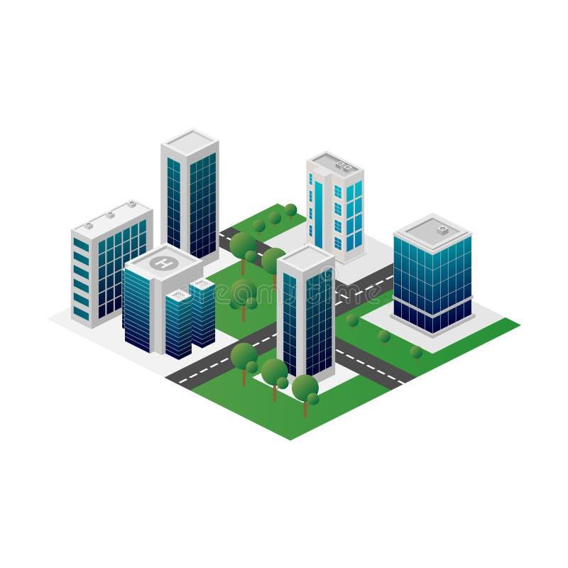 Megapolis 3d isometric trójwymiarowy widok miasto Kolekcja domy, drapacz chmur, budynki i supermarkety, budujący ilustracji