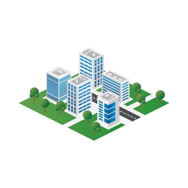 Megapolis 3d isometric trójwymiarowy widok miasto Kolekcja domy, drapacz chmur, budynki i supermarkety, budujący royalty ilustracja