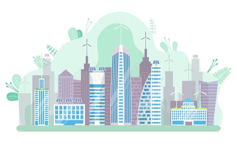 Megapolis futuristico, città moderna, grattacielo illustrazione di stock