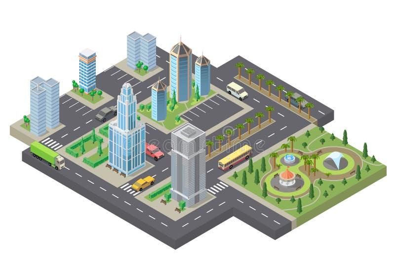 Megapolis isométricos del vector 3d, ciudad Paisaje urbano ilustración del vector