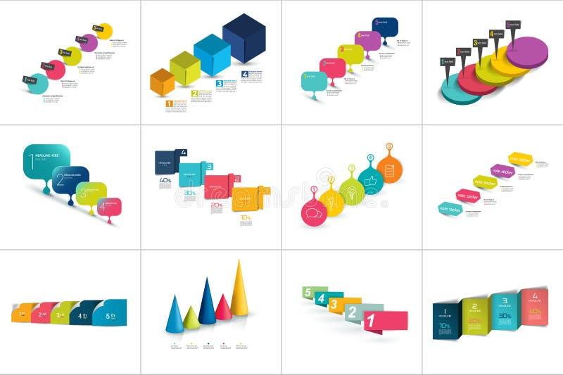 Megareeks diverse Geleidelijke malplaatjes, chronologie, Genummerd grafieken vector illustratie