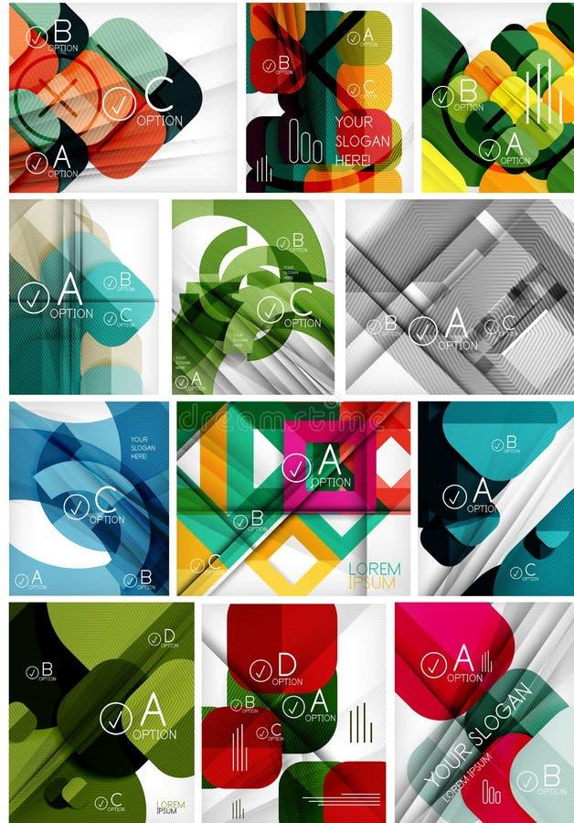 Megareeks document geometrische achtergronden vector illustratie