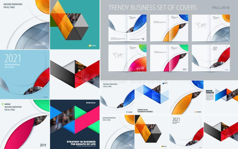Megareeks driehoekige abstracte malplaatjes voor zaken, in kleurrijke vormen, ontwerpbanner, collectieve tribune, royalty-vrije illustratie