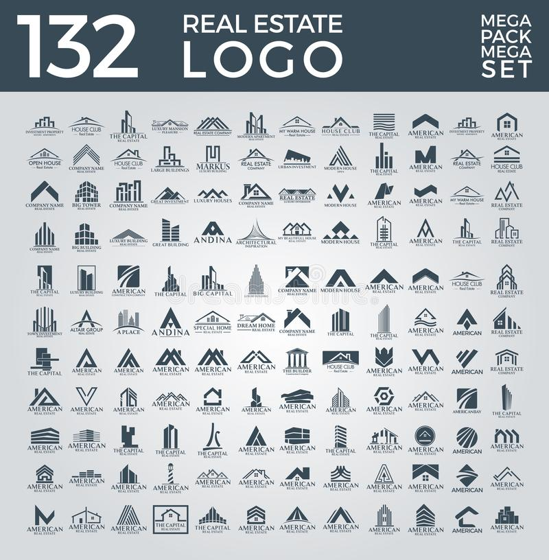 Megareeks en Grote Groep, Real Estate, de Bouw en Bouw Logo Vector Design vector illustratie