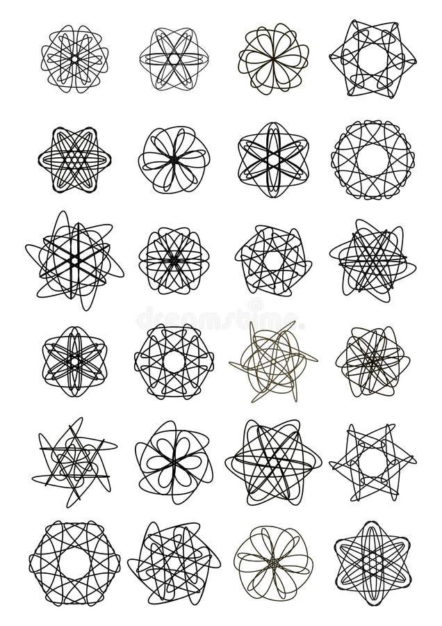 Megareeks kleine het ontwerpelementen van het cirkelkant, het zwarte trekken op witte achtergrond, symmetrische geometrische fili royalty-vrije illustratie