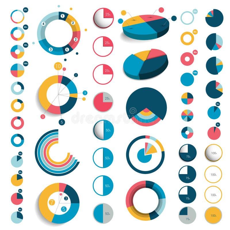 Megareeks van 3d, plastic en vlakke cirkel, ronde grafieken vector illustratie