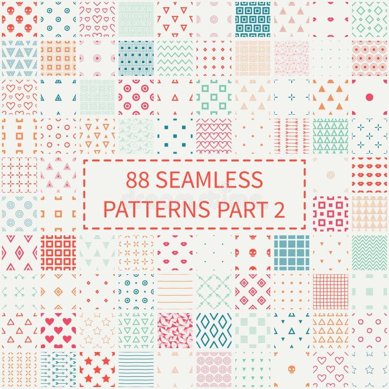 Megareeks van 88 kleurrijke geometrische universele verschillende naadloze decoratieve patronen Verpakkend document Plakboekdocum vector illustratie
