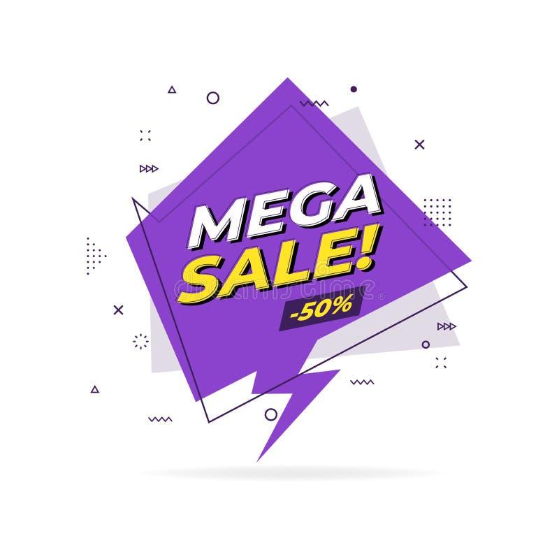 Megaverkoop in vlakke geometrische banner Megaverkoopetiket in het ontwerpstijl van Memphis stock illustratie