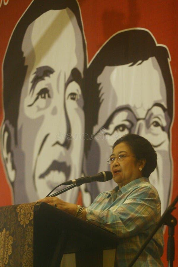 Megawati Soekarnoputri. Former president of the Republic of Indonesia, Megawati Soekarnoputri while giving a speech in Surabaya, East Java stock image