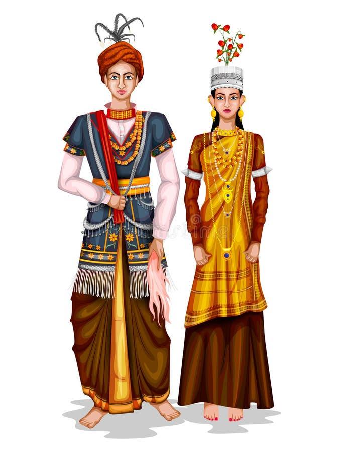 Meghalayan在梅加拉亚邦,印度传统服装的婚礼夫妇  向量例证