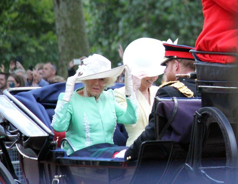 Meghan Markle, London uk 8 June 2019- Meghan Markle Kate Middleton stock photo. Camilla Parker , London uk 8 June 2019- Prince Harry Kate Middleton  Camilla royalty free stock image