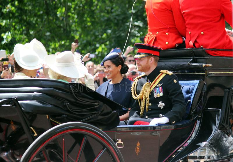 Meghan Markle, London uk 8 June 2019- Meghan Markle Prince Harry Kate Middleton. Camilla parker Bowles at Trooping the colour stock images