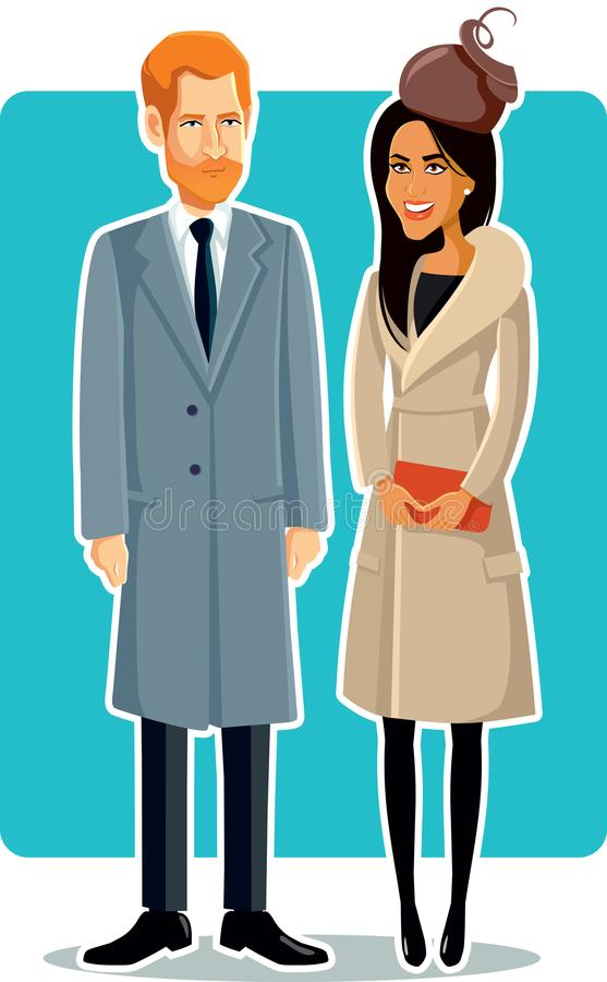Meghan Markle and Prince Harry Vector Illustration. Royal couple love story wedding ceremony historical moment illustration