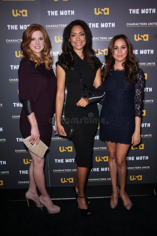 Meghan Markle, Sarah Rafferty, Gina Torres imagen de archivo libre de regalías