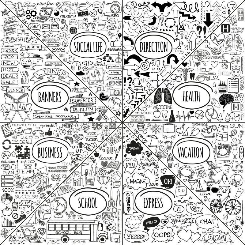 Megie doodle ikony ustawiać royalty ilustracja