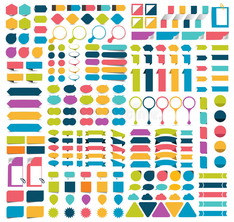 Megie kolekcje infographics projekta płascy elementy, guziki, majchery, nutowi papiery, pointery royalty ilustracja