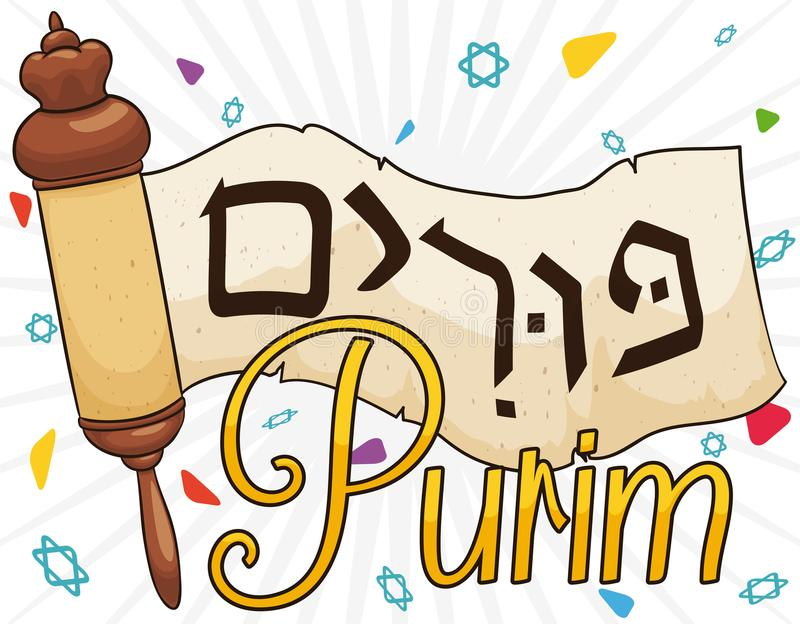 Megillah traditionnel ou rouleau d'Esther pour la célébration de Purim, illustration de vecteur illustration de vecteur