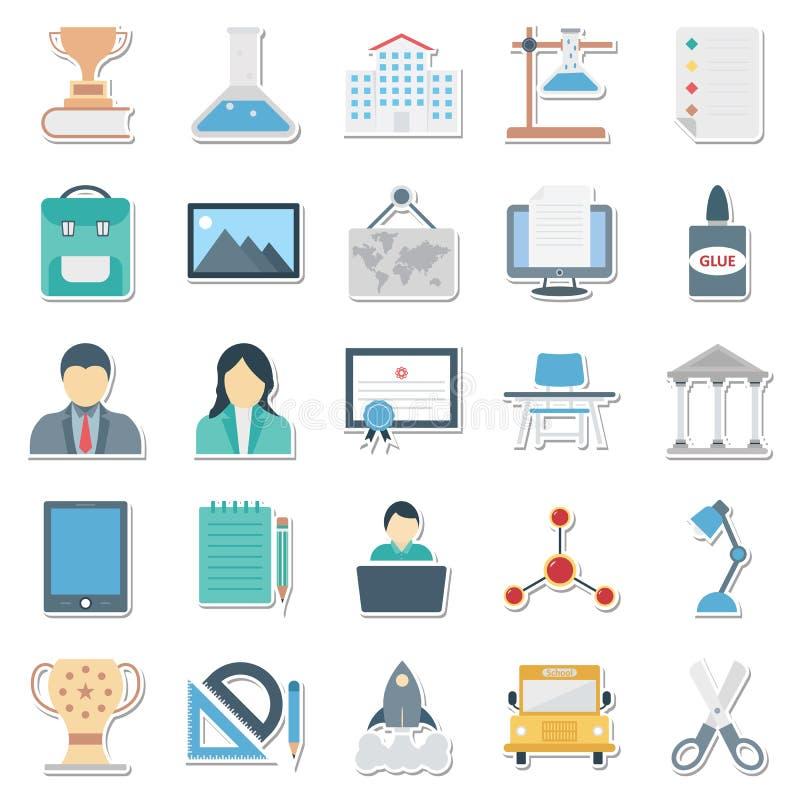 Meglio editabile delle icone di vettore isolato colore di istruzione per i progetti di istruzione illustrazione vettoriale