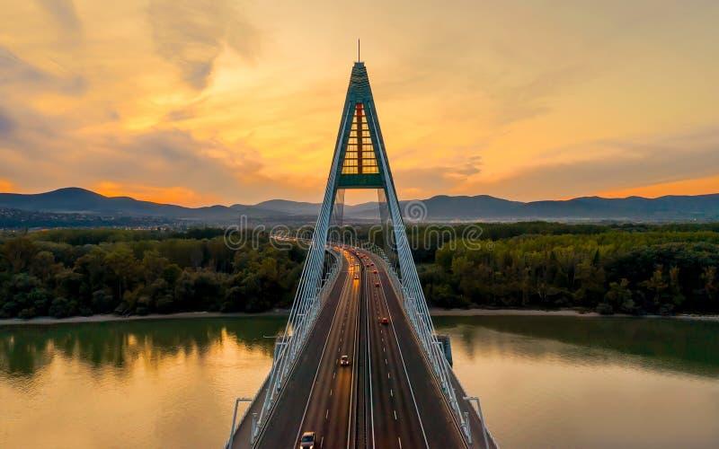 Megyeri bridge. This amazing bridge there is an east border in Budapest. M0 ringroad`s highway`s bridge. Between Ujpest and Budaka. Lasz stock photography