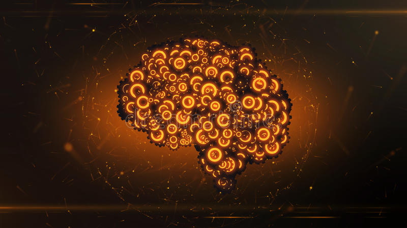 Mehanical brain forming from cogwheels. Glowing orange mechanical clockwork brain forming from flying gear wheels illustrating artificial intelligence - 3D stock illustration