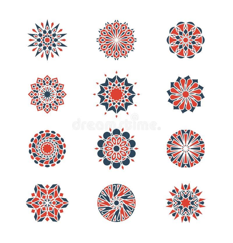 Mehendi και αραβικά κυκλικά σχέδια Γεωμετρικό σχέδιο λογότυπων στο ισλαμικό ύφος διανυσματική απεικόνιση