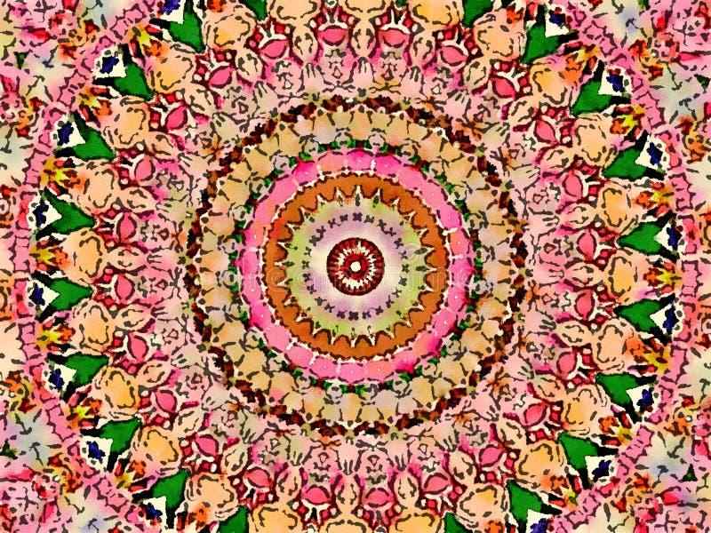 Mehendi colorido mágico colorido do projeto do caleidoscópio ilustração stock