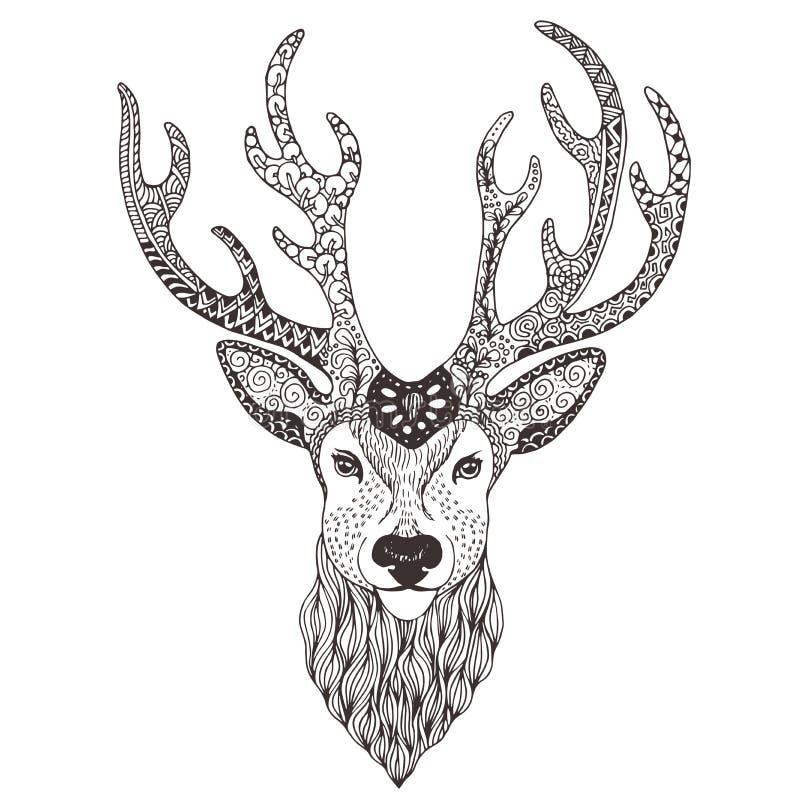 Mehendi de tatouage de tête de cerfs communs photographie stock libre de droits