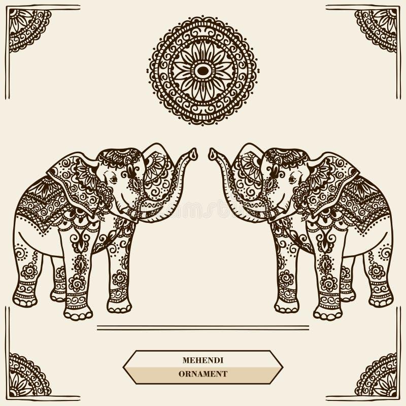 Mehendi do elefante ilustração stock