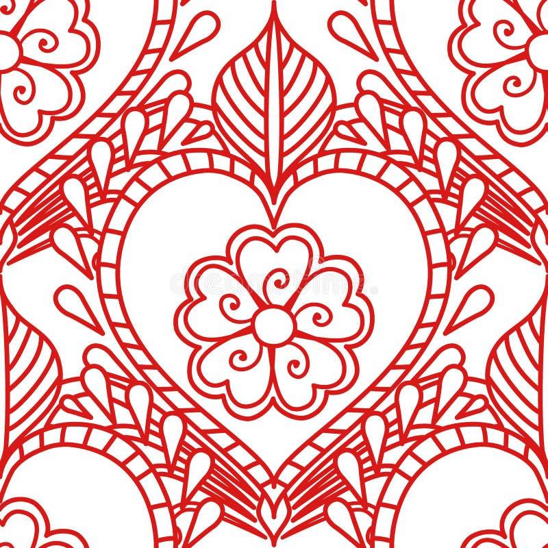 Mehendi naadloos patroon van rode lijnen op een witte achtergrond Het ornamenttatoegering van de Boho Indische stijl vector illustratie