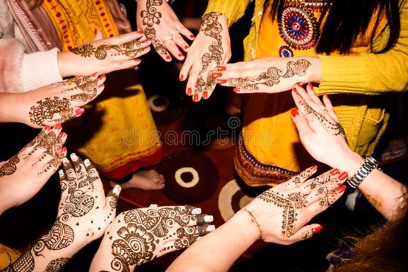 Mehendi Rasm. Hands at the time of Mehendi Rasm during Hindu marriage royalty free stock image
