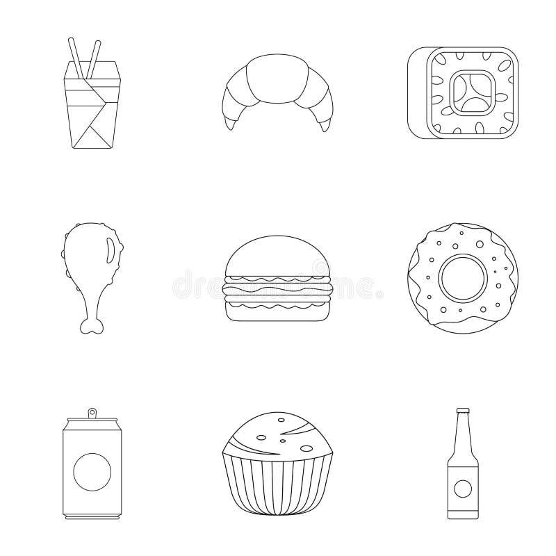 Mehlige Lebensmittelikonen eingestellt, Entwurfsart lizenzfreie abbildung