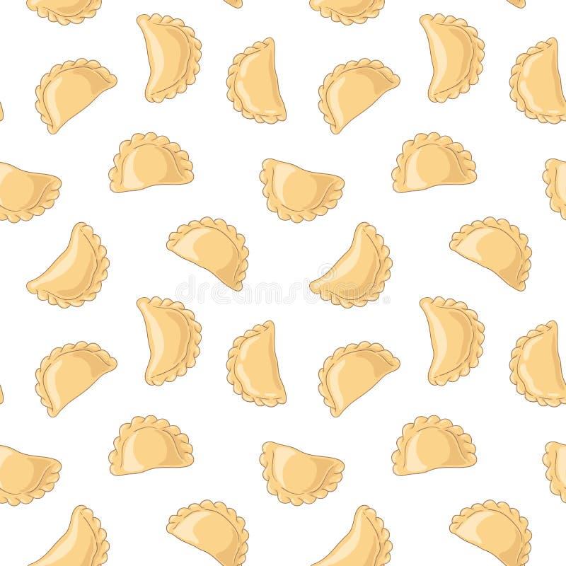 Mehlklöße pierogi, varenyky, pelmeni nahtloses Muster Vektorhand gezeichnete Abbildung lizenzfreie abbildung