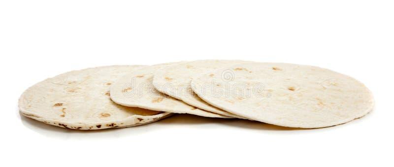 Mehltortillas auf Weiß stockfotografie