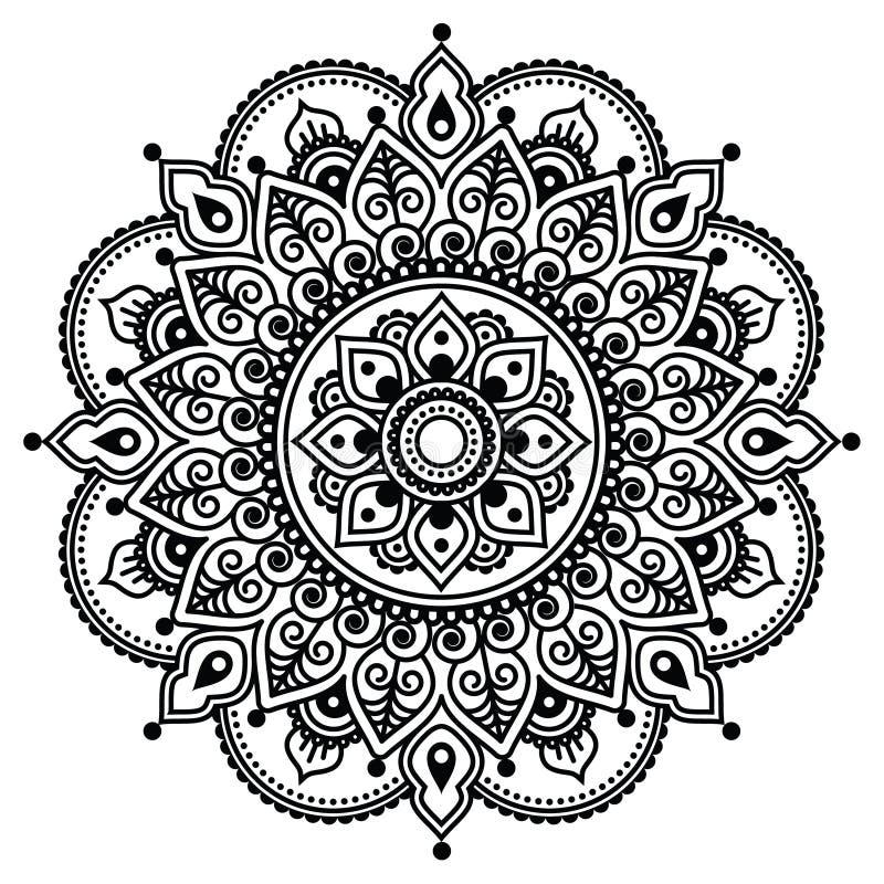 Mehndi、印地安无刺指甲花纹身花刺样式或者背景 库存例证