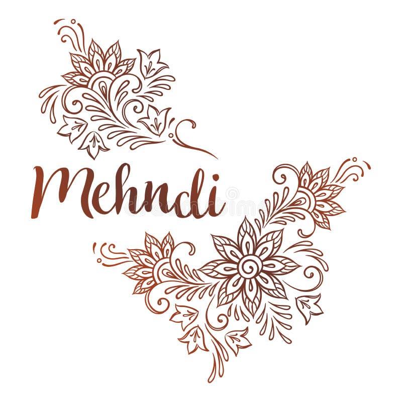 mehndi华丽种族装饰品或闪光纹身花刺设计传染媒介例证的手拉的模板 皇族释放例证