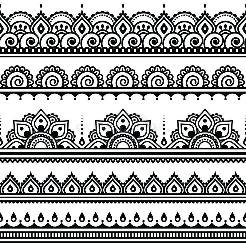 Mehndi,印地安无刺指甲花纹身花刺圆的样式 皇族释放例证