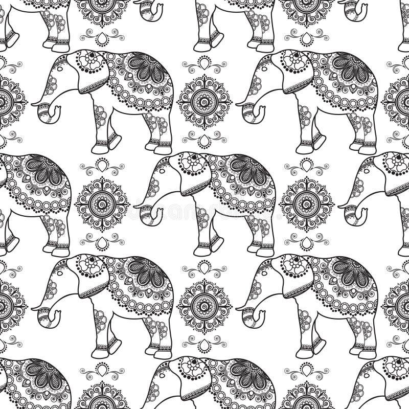 Mehndi, картина индийской татуировки хны безшовная с слонами и цветками иллюстрация штока